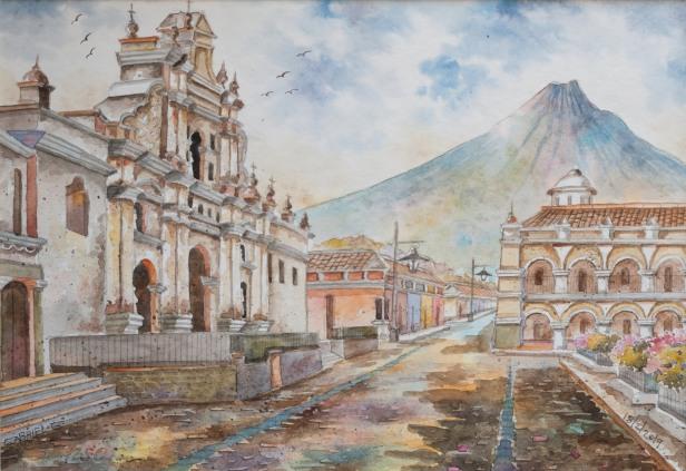 Las acuarelas de Gabriel Gómez en la Calle del Arco Antigua Guatemala