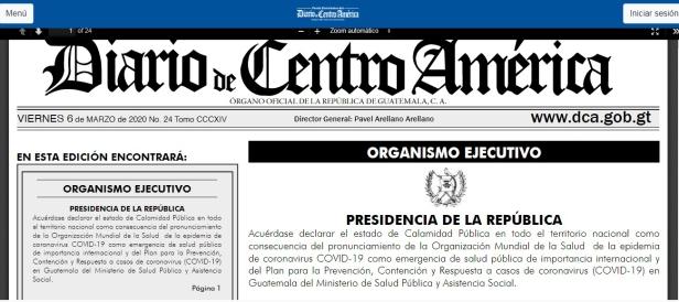 Gobierno de Guatemala Decreta Estado de Calamidad Pública como Medida de Prevención por el Coronavirus